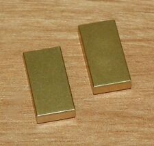 LEGO - Tile 1 x 2 with Groove (Agents Gold Bar) - (X2) Metallic Gold