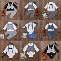 2pcs Newborn Kids Baby Boys Party Clothes Gentleman Shirt Tops+Pants Outfits Set