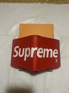Supreme Wallet Red Canvas Leather Pouch