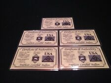 5 X ACB 1 Grain AG Bar 99.9 Fine SILVER with Certificate of Authenticity SM BAR