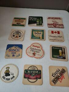 Vintage beer coasters LOT OF 12 DIFFERENT Brands & Kinds 70s 80s 90s  (lot 4)