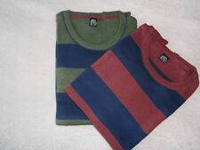NEW MAN'S MEN'S GENTS 100% COTTON STRIPED MID WEIGHT FASHION PULLOVER JUMPER