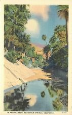 Willard Linen Postcard; Reflection in Water, Palm Canyon near Palm Springs CA