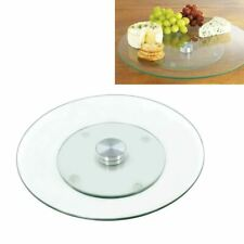 Tempered Glass Rotating Lazy Susan Serving Plate Cheese Cake Turntable Spin Tray
