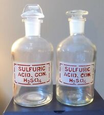 2 Vintage Pyrex Glass Sulfuric Acid Reagent Bottles With Stoppers
