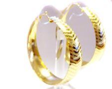 THICK HOOP EARRINGS LINED SHINY GOLD OR SILVER TONE HOOP 2.5 INCH HOOP EARRINGS