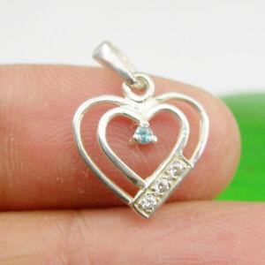 Small Love Heart Pendant Blue Topaz & CZ Gems Genuine 925 Sterling Silver, P001