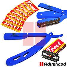 Barber Hair Shaving Razor Blue Cut-Out Men's Cut Throat Folding Knife +10 Blades