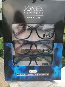 Jones New York 3 Reading Glasses  ALL Black ~ Designer Readers +1.50  Men's NICE