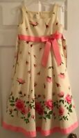Bonnie Jean Size 8 Yellow Girl's Sleeveless Sundress With Roses And Pink Trim