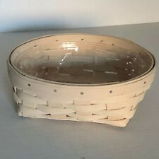 Longaberger 2001 Whitewashed Small Catch All Basket and Plastic Protector