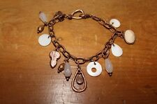 Cream/white/copper charm bracelet