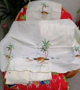 Vintage tiki embroidered chair back & cushion set