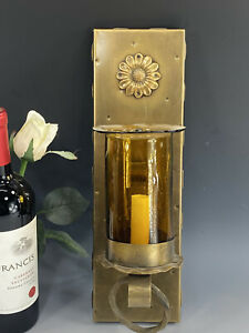 Vintage Corbett Lighting Brass Gothic Style Sconce Wall Light W/Amber Glass