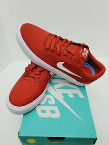 Size 7.5  Nike SB CHARGE CNVS Men's Red/White .