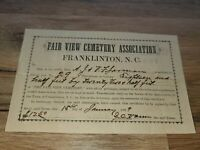 Antique Receipt For Burial Lot From 1899 (p)