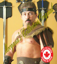 Medieval Gladiator Roman Single Leather Shoulder Armor with Fur
