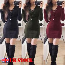 Polyester Winter V-Neck Dresses for Women