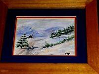 Cabin Cold Winter Storm Snow Trees VINTAGE Landscape Original Oil Canvs Painting