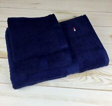 Tommy Hilfiger 3-Piece Towel Set, Peacoat (Navy) Bath, Hand, Washcloth NWT