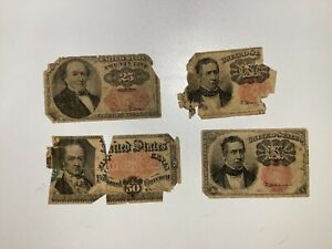 LOT OF 4 CIRCULATED U.S. FRACTIONAL CURRENCY! (2) 10, (1)25, (1) 50  NOTES! B13