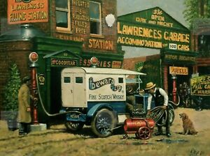Ford Model T Being Refuelled And Its Tyres Inflated  Village Garage Metal Sign