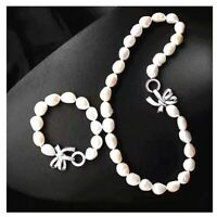"""set of 11-12mm south sea white baroque pearl necklace 18inch &bracelet 7.5-8"""""""
