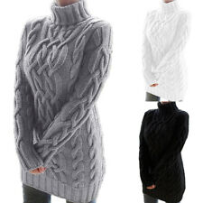 Womens Chunky Knitted Jumper Dress Ladies High Neck Bodycon Mini Sweater Dress
