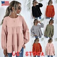 Women Puff Long Sleeve Casual Loose Top Blouse Ladies Ruffle Tunic Smock T-shirt
