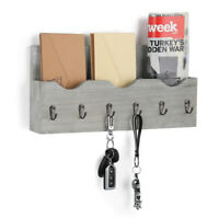 3-Slot Wall-Mounted Letter Rack 6 Hooks Wood Key Holder Modern Home Storage