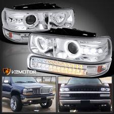99-02 Silverado 00-06 Chevy Tahoe Suburban Projector Headlights+LED Bumper Light