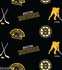 NHL HOCKEY BOSTON BRUINS BLACK FLEECE FABRIC BLANKET MATERIAL BY 1/2 YARD CRAFTS