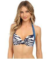 Tommy Bahama Zebra underwire halter bikini top 36D AN36