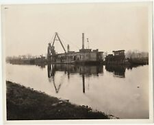 2 NICE Photos - Erie Canal Big IDd Barge Dredge & Tug Boats 1920s Rochester NY