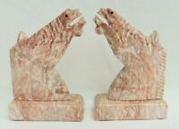 """Large Pair Vintage 10"""" Pink Marble Stone Figural Horse Head Equestrian Bookends"""