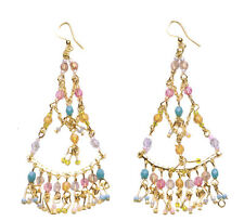 Beads Chandelier Style Earrings(Zx203) Gorgeous Layered Golden Chain Colourful