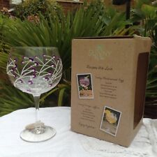 Sunny By Sue Hand Painted Gin & Tonic Large Purple Flower Balloon Glass Boxed 12