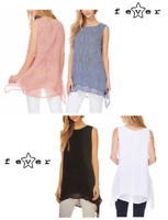 Fever Women's Double Layer Sleeveless Blouse, Variety Colors / Sizes, NWT
