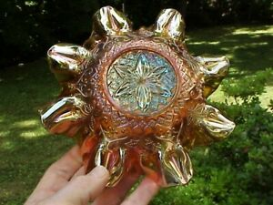 EX RARE Brockwitz Ruffled Radium Marigold Carnival Glass Bowl SUNGOLD FLORAL