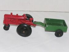 Vintage Classic Red Toy Tractor Hitched to Green Trailer Diecast Cast Metal