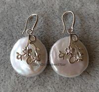 Schöne 20 * 25mm weiße Münze Barock Süßwasser Perle Hochzeit Blume Ohrringe