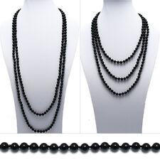 "Genuine Black Onyx 80"" Long 8mm Bead Stranded Necklace"
