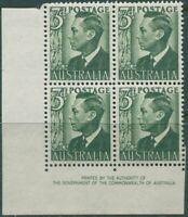 Australia 1950 SG237d 3d grey-green KGVI block MNH