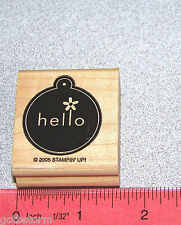 Hello Tag Rubber Stamp Single with Flowers  Small Tag Size Stampin Up Merry Mix