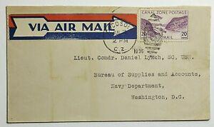 1936 20c Canal Zone Airmail US Fleet Airbase Coco Solo Fancy Cancel Scott #C04