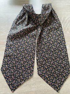 Paisley Pure Silk Cravat Scarf Black Paisley Pattern BNWOT