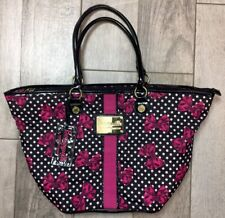 Betseyville Betsey Johnson Pink Black Bow Tie Large Tote Bag Funky Versatile