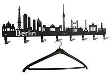 Wandgarderobe Berlin Skyline - Flurgarderobe 80cm, 8 Haken Hakenleiste Garderobe