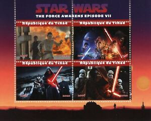 Chad Star Wars Stamps 2020 CTO Force Awakens Rey Kylo Ren Han Solo 4v M/S