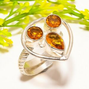 Honey Topaz Gemstone Handmade Silver Fashion Jewelry Ring Size Adjustable SR427